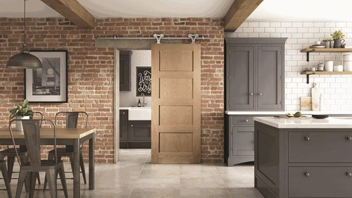 Oak Shaker 4 Panel Sliding Barn Door
